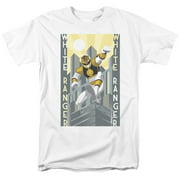 Mighty Morphin Power Rangers White Ranger Deco Mens Short Sleeve Shirt