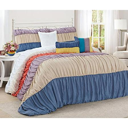 Unique Home 7 Piece Celene Colorful Stripe Ruffled Bed In