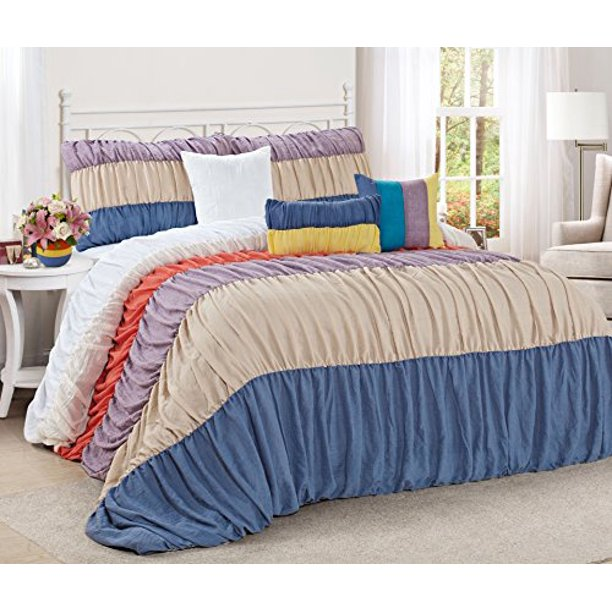 7 piece celene colorful stripe ruffled clearance bedding