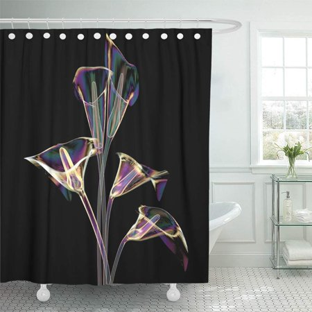 KSADK Beautiful Color Glass Flower Black The Lilly Calla 3D Beauty Bloom Blossom Blueprint Shower Curtain Bath Curtain 66x72 inch Beautiful Black Glass