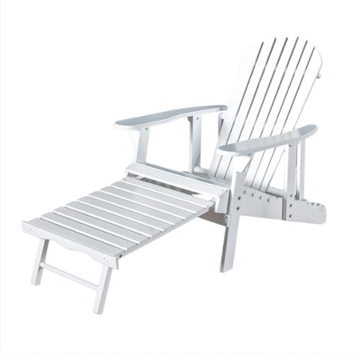 Katerina Outdoor Reclining Wood Adirondack Chair with Footrest
