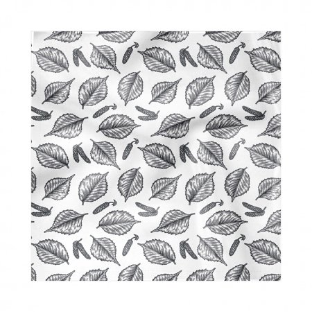 Leaves Napkins Set of 4, Detailed Sketch of Birch Leaves and Berries on Plain Backdrop Pattern, Silky Satin Fabric for Brunch Dinner Buffet Party, by Ambesonne