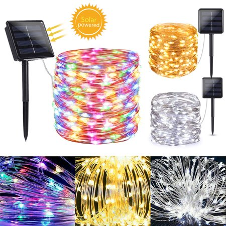 2/1Pcs Solar Powered String Lights, 33ft 100 LED Waterproof Copper Wire Lights, Fairy Starry Lights, Indoor Outdoor Solar Decorative Lights for Garden Home Yard Dancing Christmas Wedding Party Décor ()