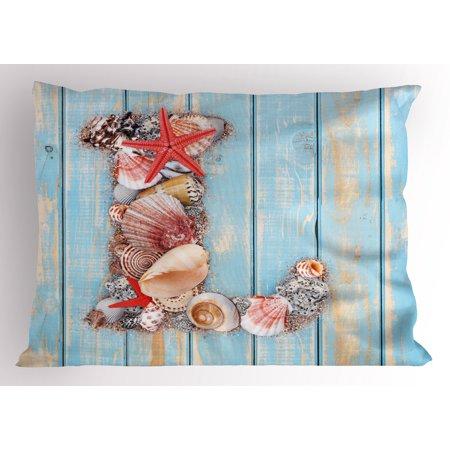 letter l pillow sham ocean inspired theme alphabet design letter l with marine elements decorative