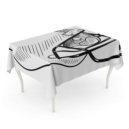 SIDONKU Sketch Doodle Style Football Helmet Sports Equipment in Drawing Concussion Face Tablecloth Table Desk Cover Home Party Decor 60x84