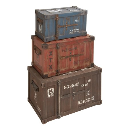 - Decmode Farmhouse 20, 24, and 27 Inch Pine Wood and Metal Railroad Crate Designed Trunks - Set of 3