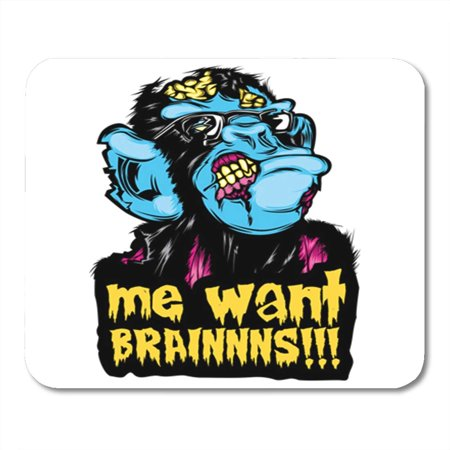 KDAGR Scary Zombie Monkey Chimp Colorful Pop Culture Halloween Sticker Me Want Brainnns Mousepad Mouse Pad Mouse Mat 9x10 inch](Scary Halloween Pop Ups)