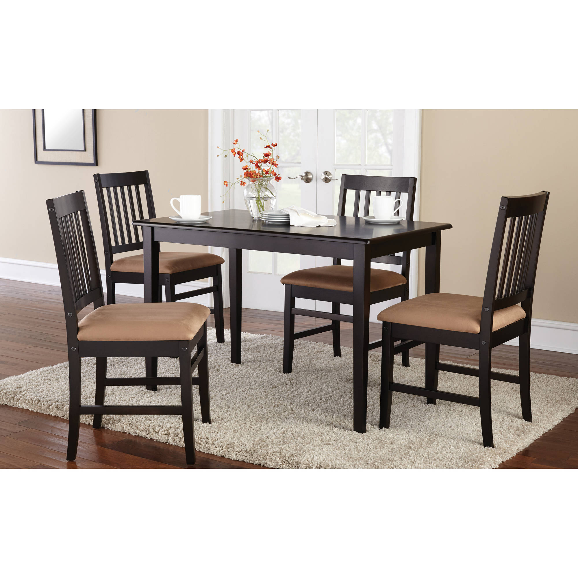 Mainstays 5 Piece Dining Set With Rich Espresso Finish Walmart Com Walmart Com