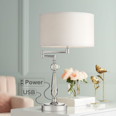 Vienna Full Spectrum Amira Crystal Swing Arm Desk Lamp with USB Port and Outlet