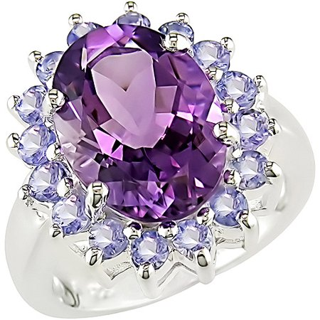 6 Carat T.G.W. Oval Amethyst and Tanzanite Ring in Sterling Silver