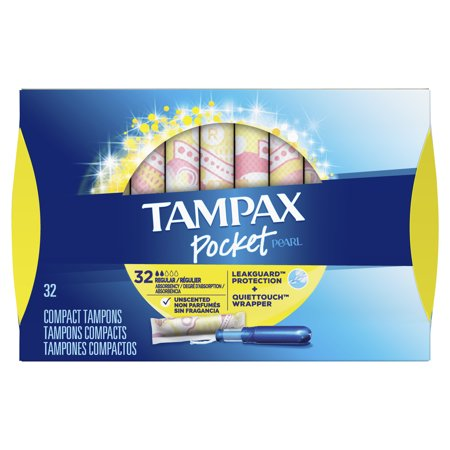 TAMPAX Pocket Pearl, Regular, Plastic Tampons, Unscented, 32 Count