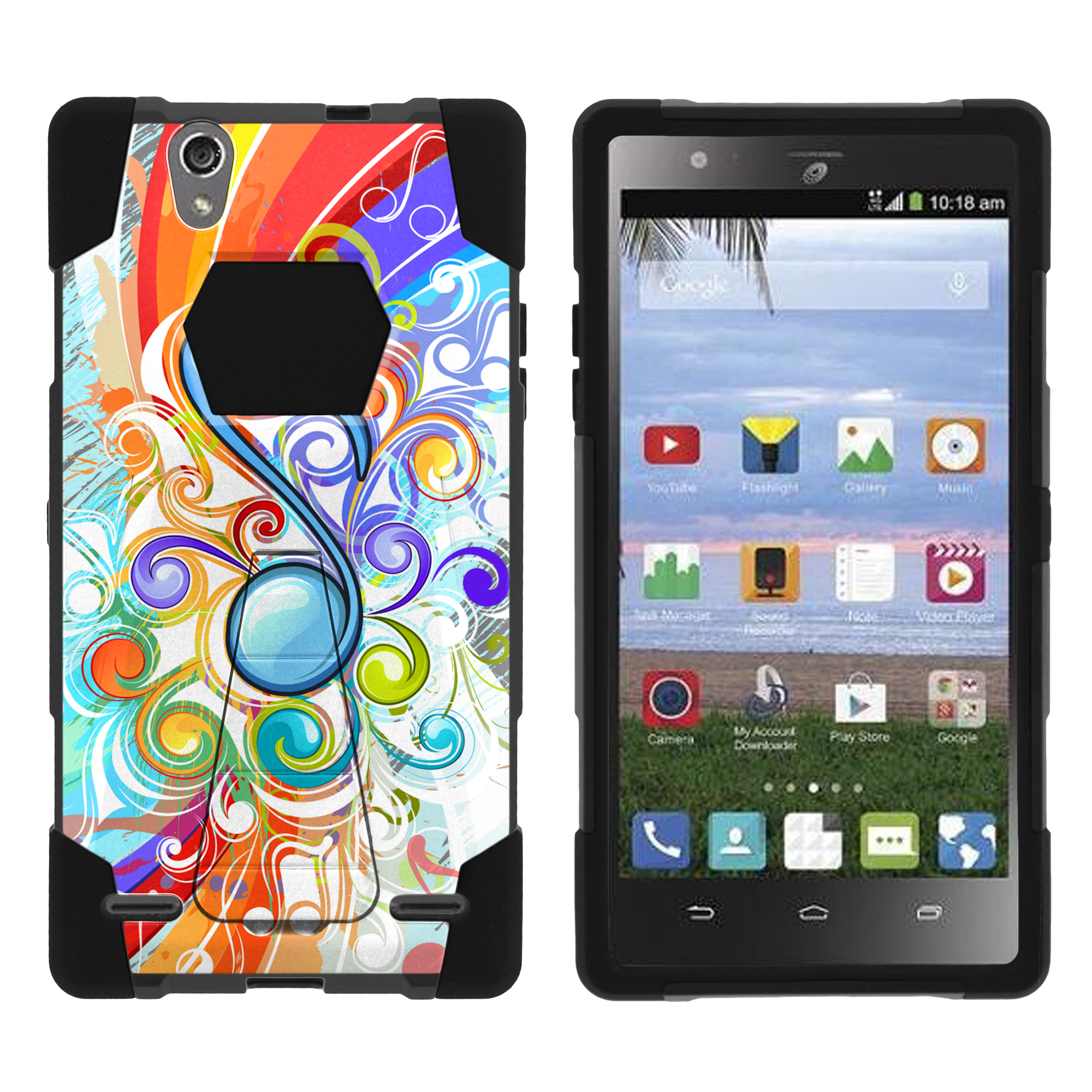 Case for ZTE Lever LTE | Lever LTE Hybrid Case [ Shock Fusion ] High Impact Shock Resistant Shell Case + Kickstand - Music Note