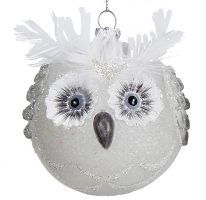 4 winter light white owl head glittered glass christmas ball ornament