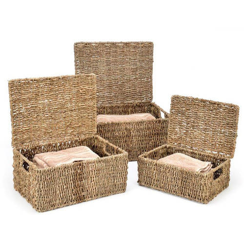 Trademark Innovations Rectangular Seagrass Baskets with Lids, Set of 3