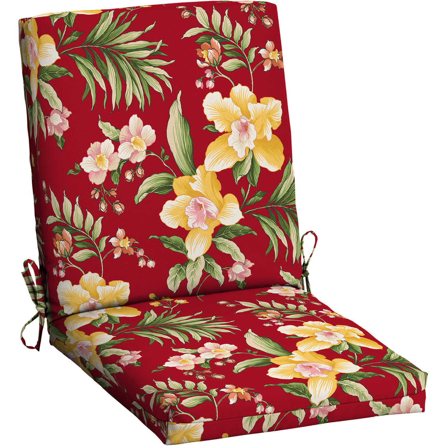 walmart outdoor chair cushions Mainstays Outdoor Patio Dining Chair Cushion, Red Tropical  walmart outdoor chair cushions