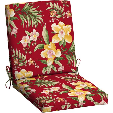 Mainstays Outdoor Patio Dining Chair Cushion, Red Tropical - Mainstays Outdoor Patio Dining Chair Cushion, Red Tropical