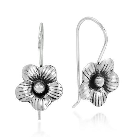 Delicate Azalea Flowers Sterling Silver Slide-Through Dangle Earrings