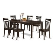 East West Furniture HECA7-CAP-C 7 Piece Formal Dining Room Set-Dinette Table Featuring Leaf and 6 Dining Room Chairs