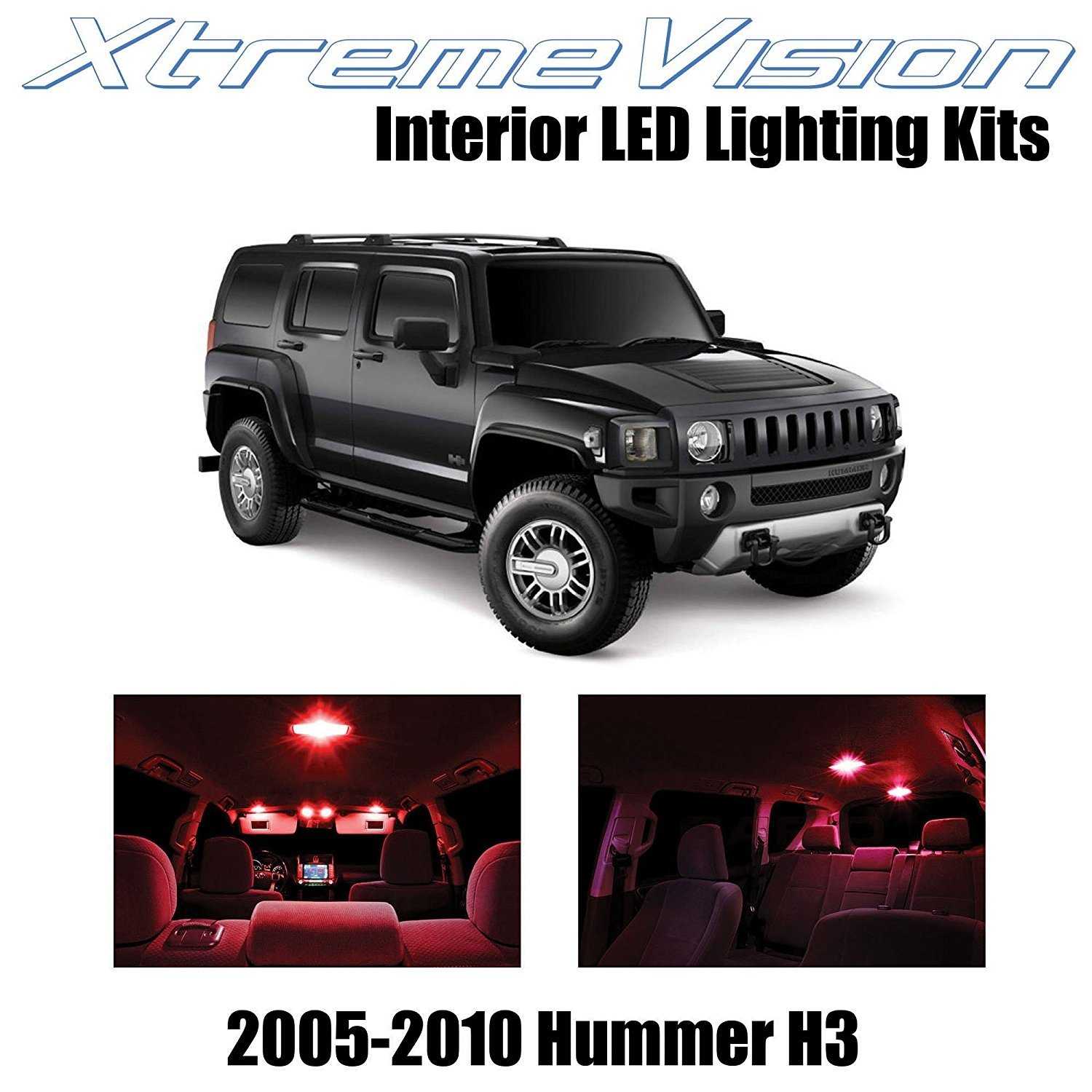 XtremeVision LED for Hummer H3 2005-2010 (15 Pieces) Red Premium Interior LED Kit Package + Installation Tool