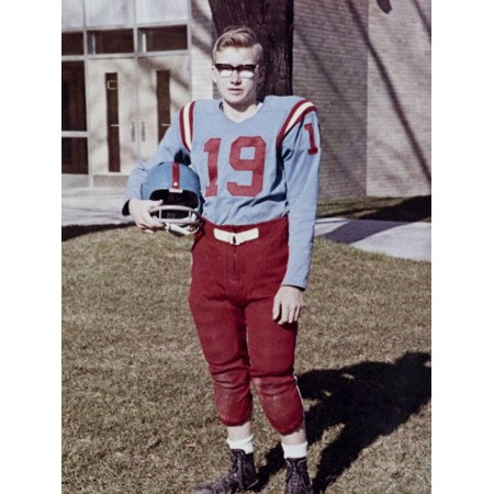 Old Time Football Player - Fifteen year old high school football player portrait outside the school, ca. 1961 Print Wall Art