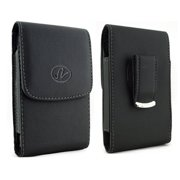 Vertical Leather Case Cover Holster with Swivel Belt Clip FOR AT&T Nokia Lumia 900 * Fits phone w/ Single Layer Case on it *