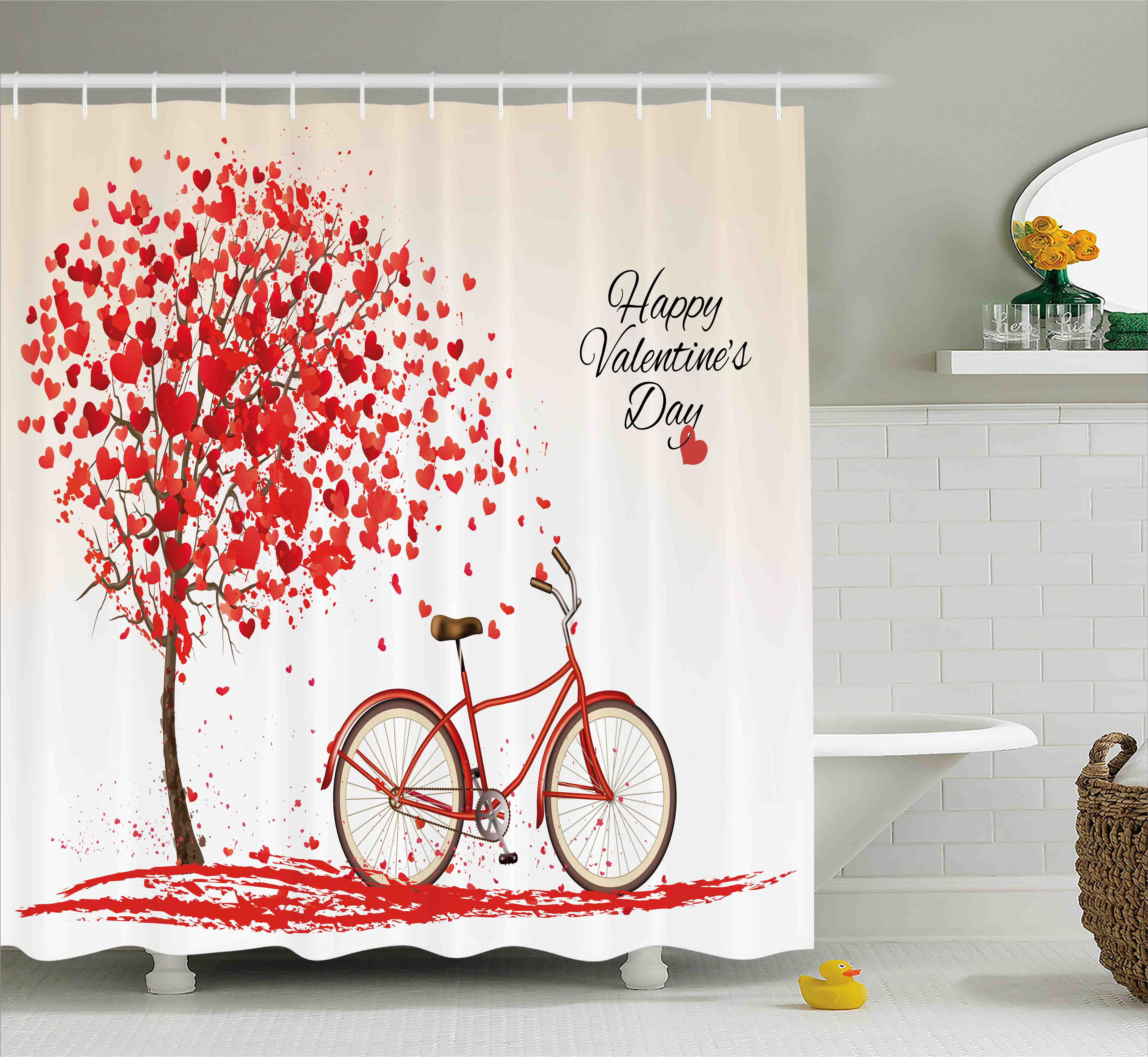 Valentines Day Shower Curtain, Romantic Tree made of Blooming Red Hearts with Bike and Petals Vintage Art, Fabric Bathroom Set with Hooks, 69W X 75L Inches Long, Pink Red, by Ambesonne