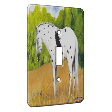 KuzmarK™ Single Gang Toggle Switch Wall Plate - Black Leopard Appaloosa Sleepy Summer Day Horse Art by Denise Every ()