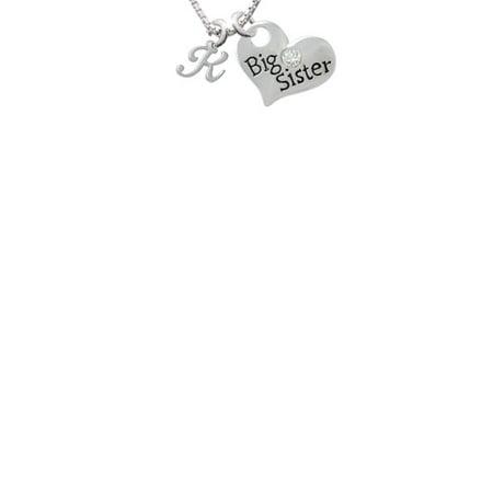 Mini Gelato Script Initial   K   Big Sister Heart Necklace  18  2