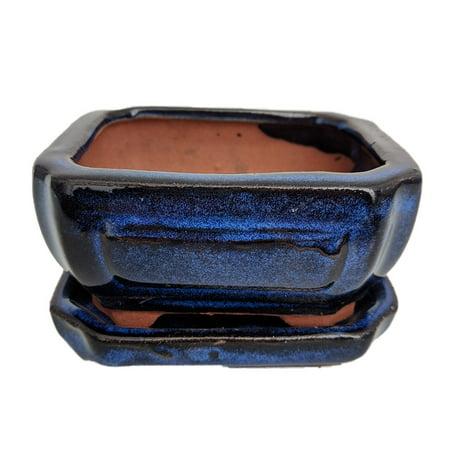Small Ceramic Bonsai Pot plus Saucer -CobaltFancyRect-4