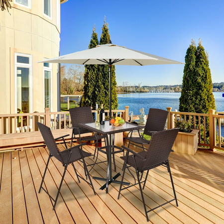 Costway 5PC Rattan Patio Furniture Set 4 Bar Stool Folding Chair + Bar Table W/Glass Top ()
