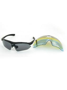 78c899de5194 Product Image Black Half Rim Polarized Sunglasses Eyewear Glasses w 4 Pair  Lens Replacement