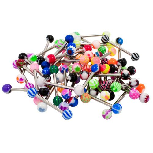 FunkyTownMall 14 Gauge - 1.6mm LOT of 100 Assorted Stainless Steel Multicolor Ball Barbell Tongue Jewelry, TNG-MIX