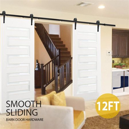 Yaheetech 12Ft Sliding Barn Door Closet Hardware Set Black Wood Antique Style Double Track Kit System Pottery Barn Daily System