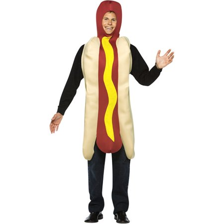 Hot Dog Adult Halloween Costume - One Size](Hot Dog Bun Costume)