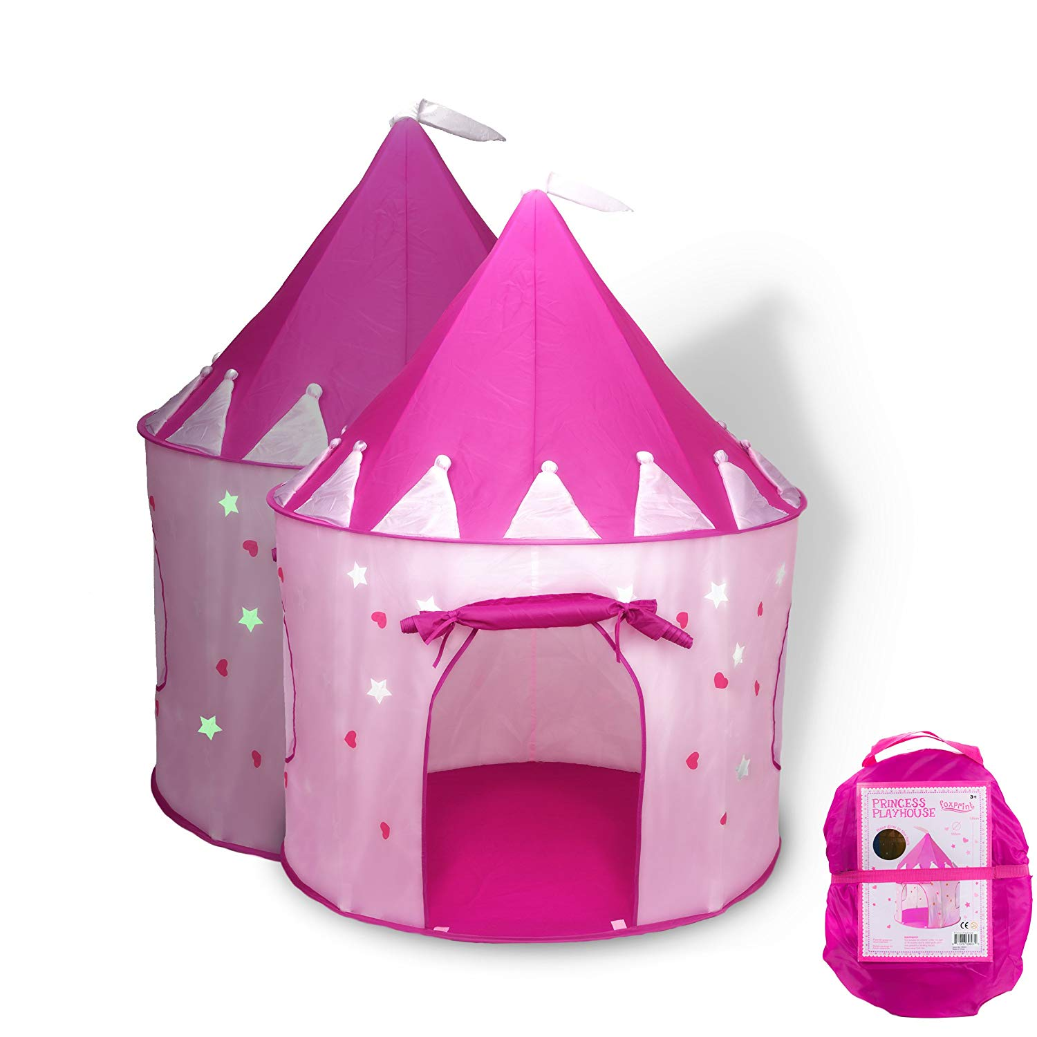 FoxPrint Princess Castle Glow in the Dark Foldable Pop Up Play Tent by FoxPrint