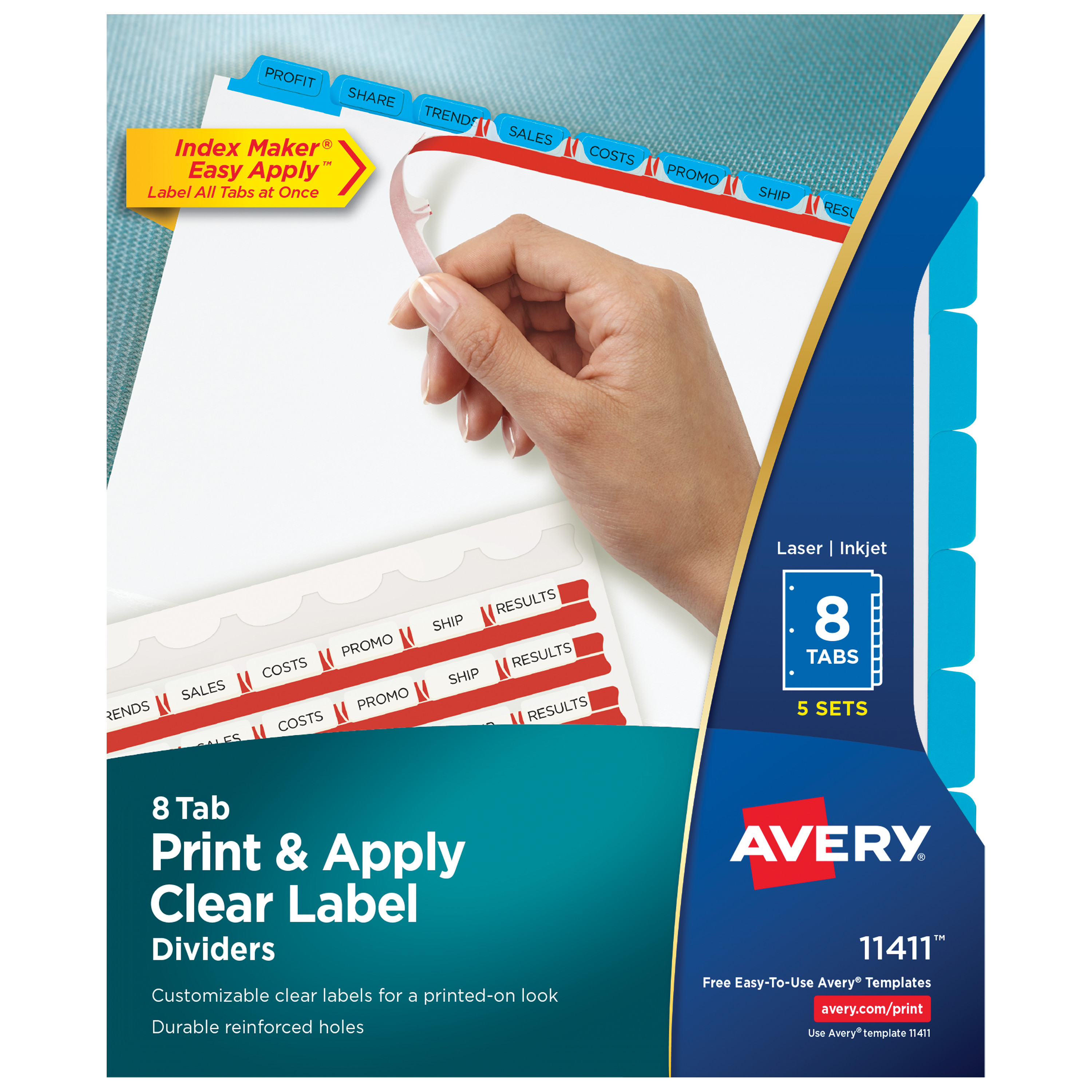 Avery 8-Tab Binder Dividers, Easy Print & Apply Clear