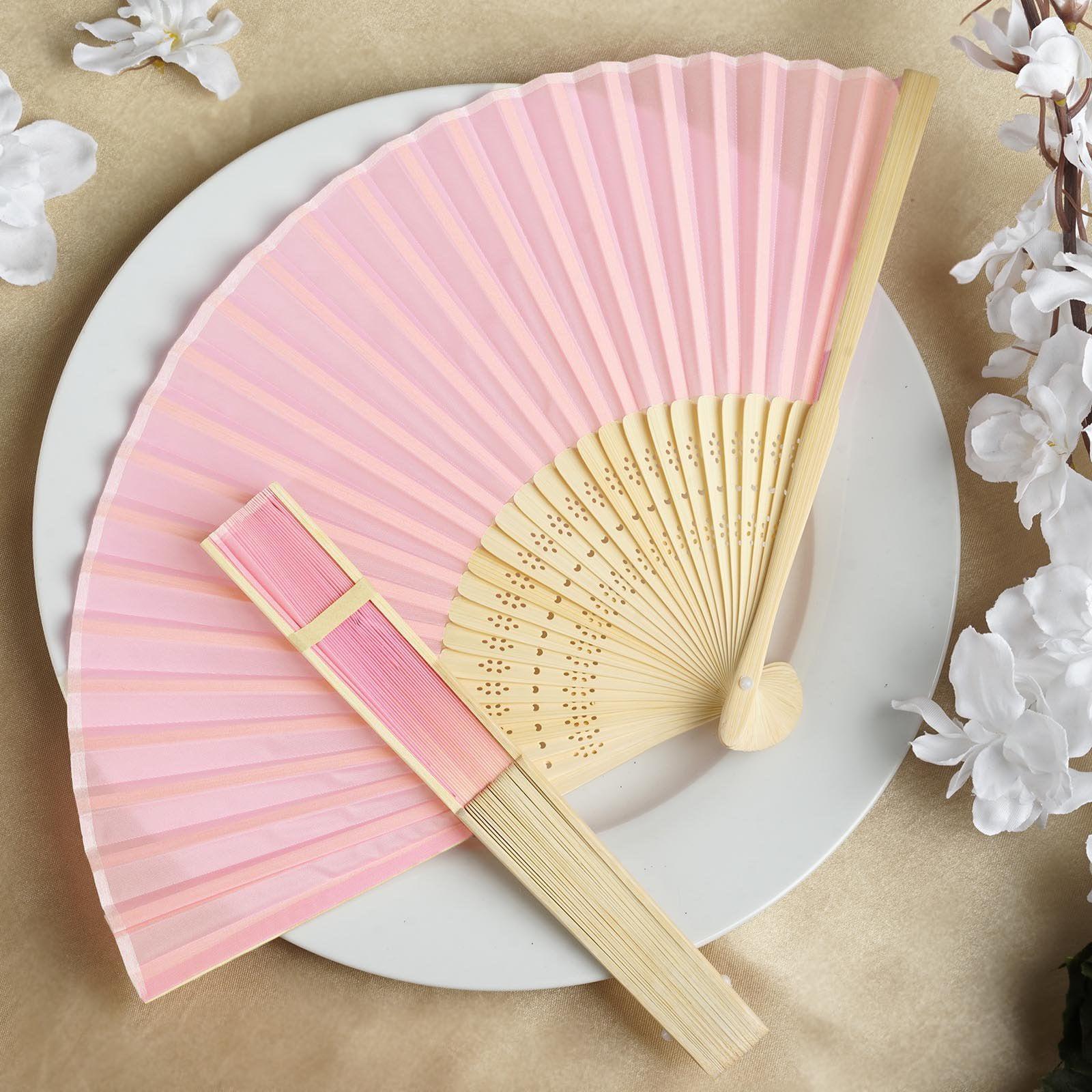 Efavormart Lot Of 50 Wholesale Silk Folding Birthday Banquet Event Wedding Party Favor Fans 17 Colors Available Walmart Com