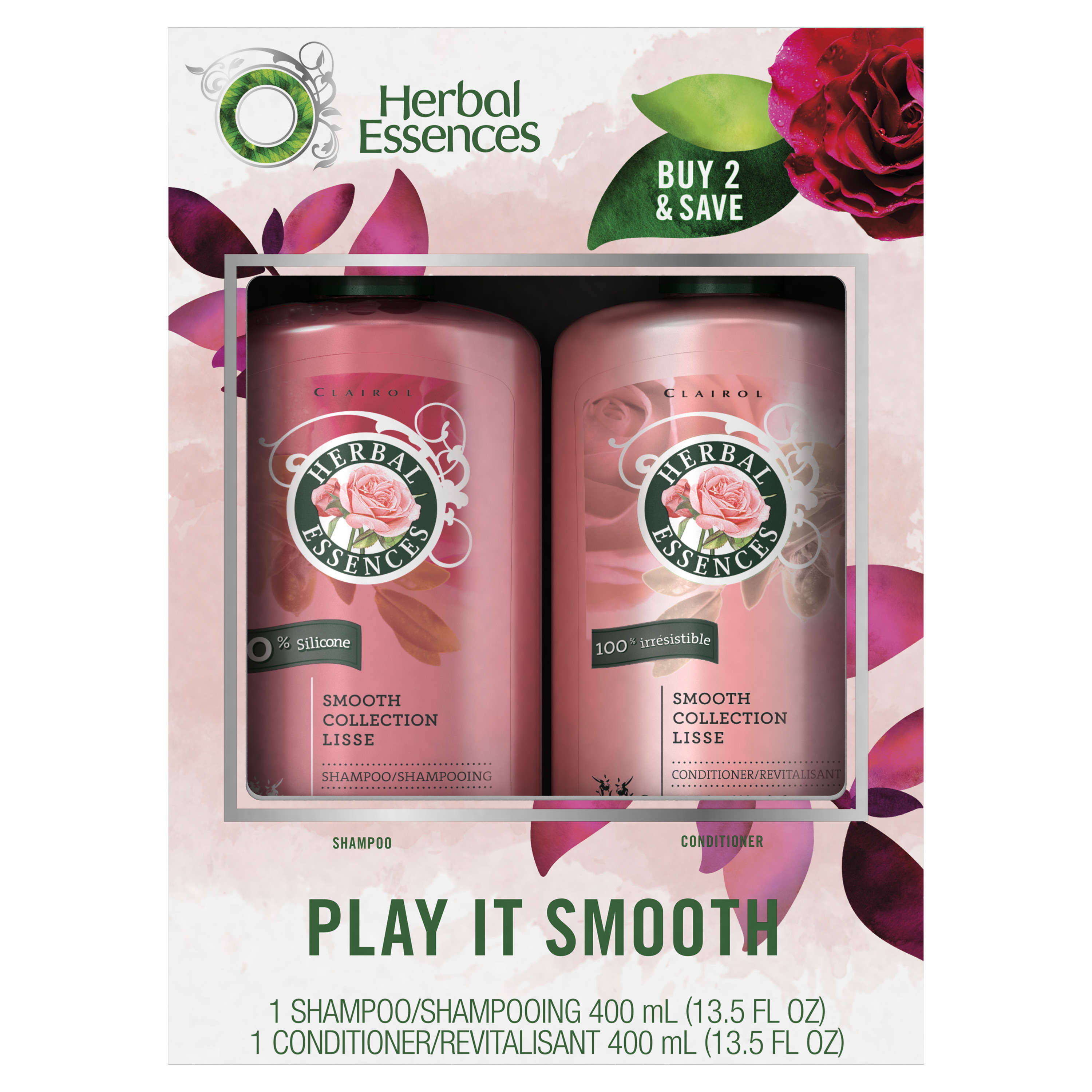 Herbal Essences Smooth Collection Shampoo and Conditioner, 13.5 Fl Oz Each (Pack of 2)