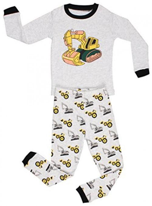 Elowel Little Boys 2 Piece Cotton Pajama Set, Gray - Bulldozer7 - 7