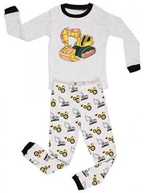Elowel Little Boys 2 Piece Cotton Pajama Set, Gray - Bulldozer8 - 8