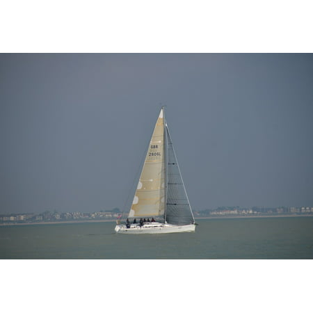 - Canvas Print Solent Coast Sail Boat UK Yacht England Water Stretched Canvas 32 x 24