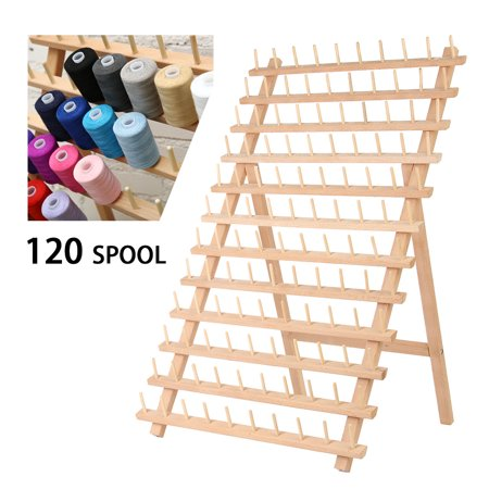 120 Spools Thread Rack Holder Wooden Foldable Spool Stand Large Spool Storage Rack Thread Spool Stand Sewing Cone Storage Organiser Quilting Embroidery Bobbin Holder Craft Tools (Large Wooden Spools For Sale)