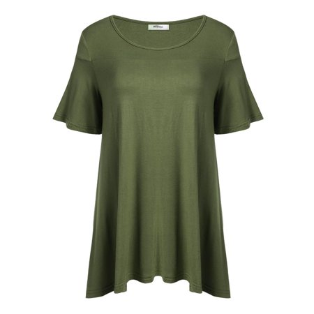 Womens Swing Tunic Tops O Neck Short Sleeve Loose Fit Flare Hem T Shirt