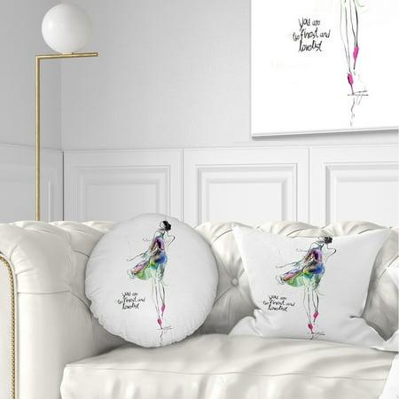 DESIGN ART Designart 'Young Woman Green Purple' Abstract Portrait Throw  Pillow