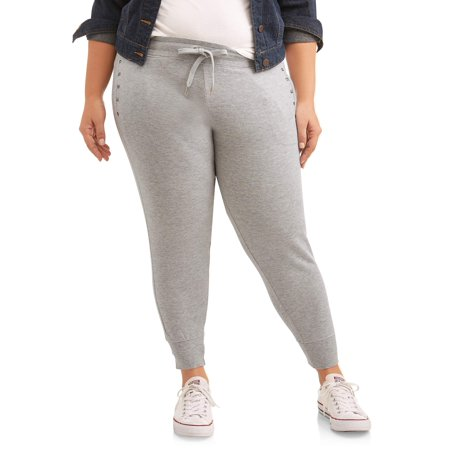 New York Laundry Athleisure Women's Plus Pant Jogger with Stud Detail (Joggers Pants Size Small)