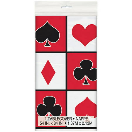 (3 Pack) Plastic Casino Party Table Cover, 84