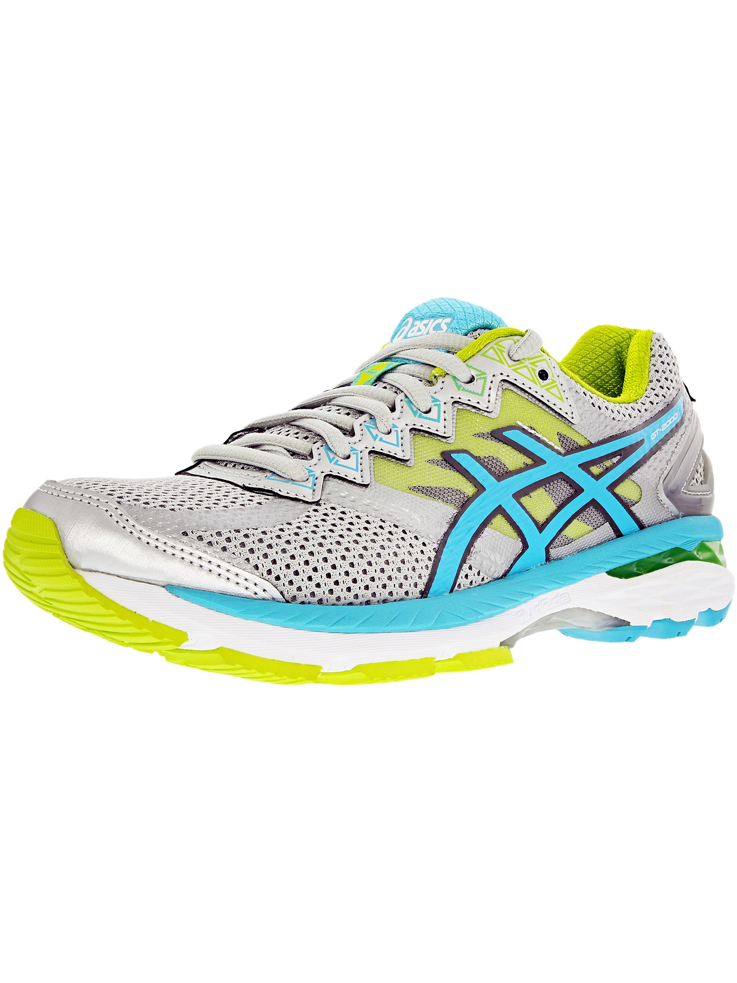 Asics Women's Gt-2000 4 Silver/Turquoise/Lime Punch Ankle-High Tennis Shoe - 6M