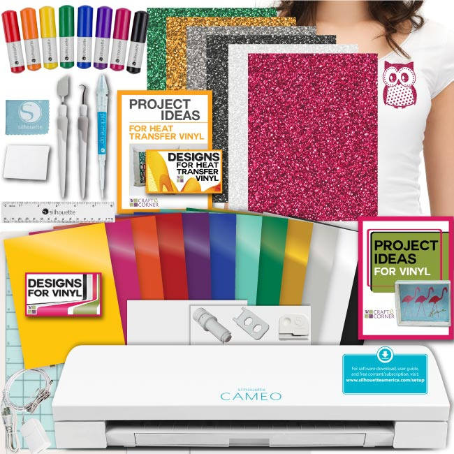 Silhouette Cameo 3 Bundle - Guide Oracal Vinyl, Tools, Pens, 12 Designs Hook