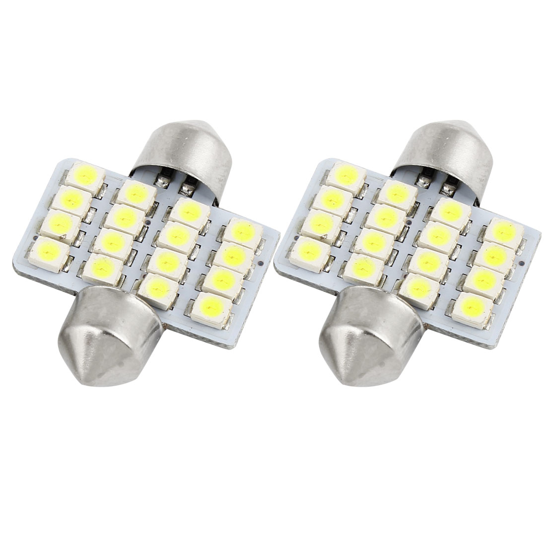 Unique Bargains Bright White 16 SMD LED Car Interior Festoon Dome Light Bulbs 31mm x 2