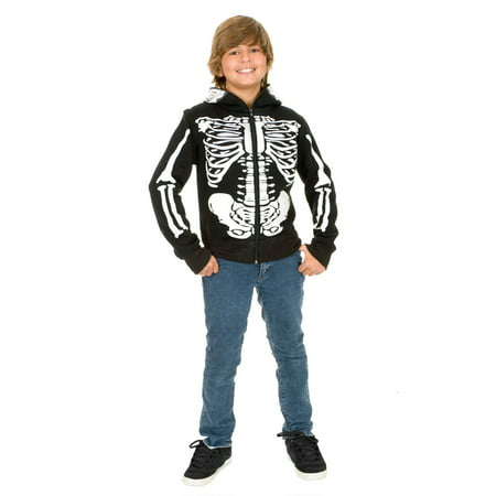 Halloween Skeleton Sweatshirt Hoodie Boy](Clipart Halloween Skeleton)